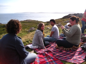 A picnic by the lightouse in Ferryland, Newfoundland