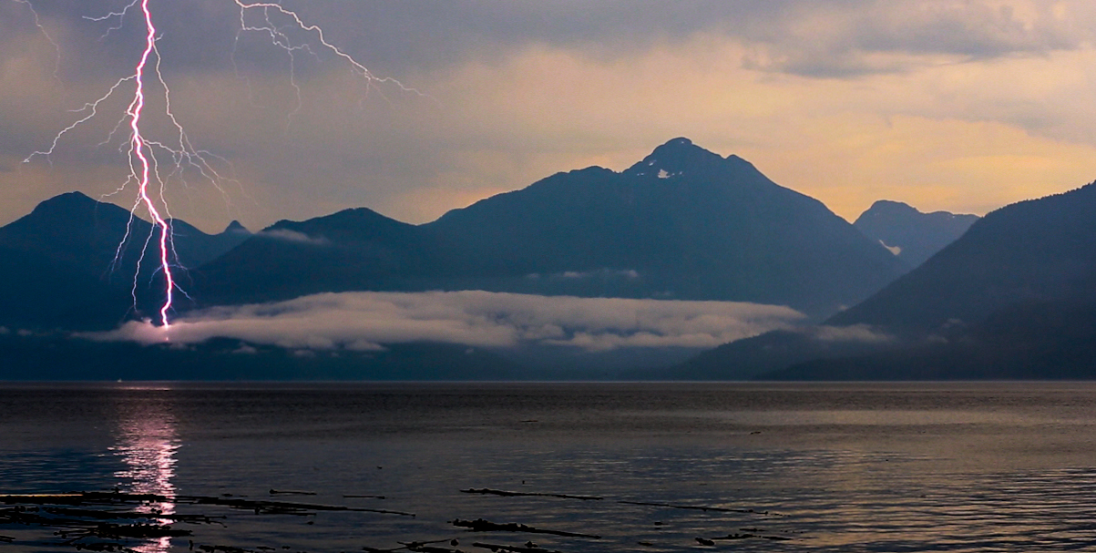 Lightning on August 17th on the Johnstone Strait, BC, Canada